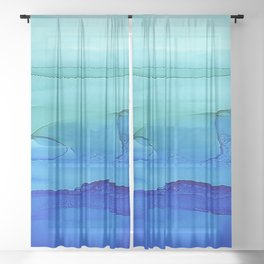 Alcohol Ink Seascape Sheer Curtain