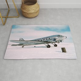 Vintage aviation photograph Alaska Airlines airplane air plane classic pilot flight travel photo Rug