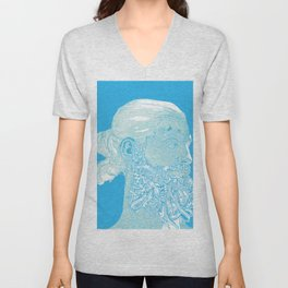 Hipster Neptune - seaspray Unisex V-Neck