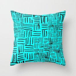 Aqua Dashed Throw Pillow