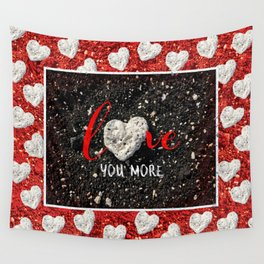 """""""Love You More"""" Hawaii Beach with Coral Heart Photo Wall Tapestry"""