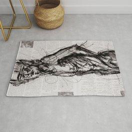 Saint - Charcoal on Newspaper Figure Drawing Rug