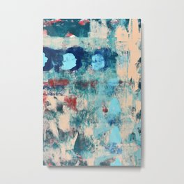 013.2: a bright contemporary abstract piece in southwestern blues and peach by Alyssa Hamilton Art  Metal Print