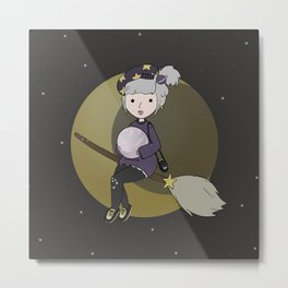 Moon And Stars Witch Girl Metal Print