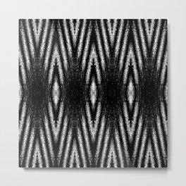 Geometric Black and White Diamond Tribal-Inspired Pattern Metal Print
