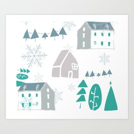 winter holiday houses Art Print