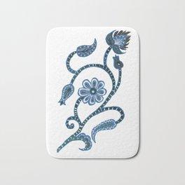 Blue Paisley Doodle-right facing Bath Mat