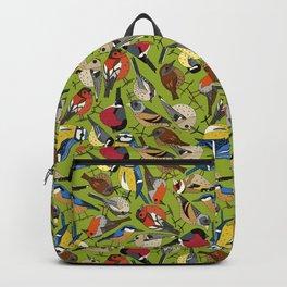 winter garden birds lime Backpack