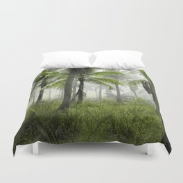 Foggy Palm Forest Duvet Cover