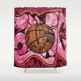 Pink Basketball Graffiti on Brick Wall Shower Curtain