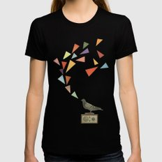 Pigeon Radio Womens Fitted Tee SMALL Black