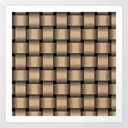 Large Tan Brown Weave Art Print