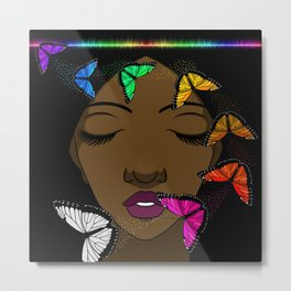 Portrait of a Young African American Woman with Butterflies Metal Print