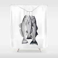 trout Shower Curtains featuring 3 Amigos - Red Drum, Sea Trout, Striped Bass by Newmanart7 -- JT and Nancy Newman, Art a