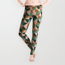 Retro Triangles in Blush Pink, Gold, and Teal Leggings