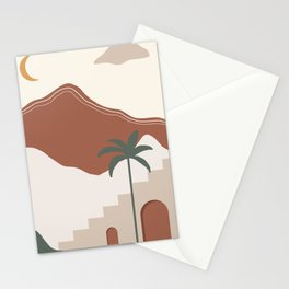 Abstract Modern African Landscape Illustration Stationery Cards