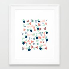 Navy painted shapes polka dots minimal basic decor mint peach and blue pattern Framed Art Print