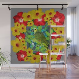 RED-YELLOW HIBISCUS & GREEN PARROT JUNGLE GRAY  ART n Wall Mural