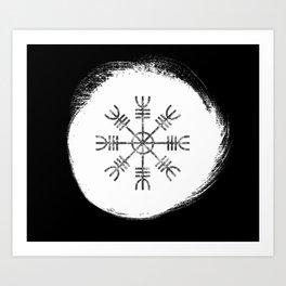 Black and White Helm of Awe | Aegishjalmur Icelandic Stave Art Print