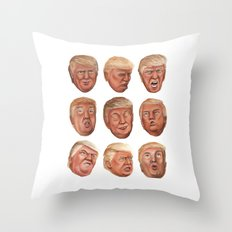 Faces Of Donald Trump Throw Pillow