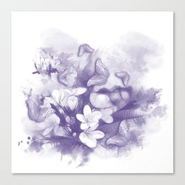 Ultraviolet tropical flowers and butterflies Canvas Print