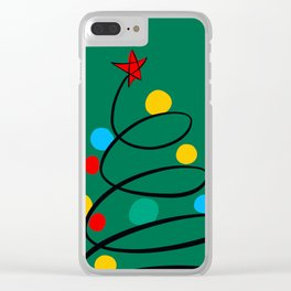 Christmas Tree Minimal Design Art Red Blue Green Clear iPhone Case