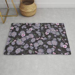 Black Indian cress garden. Rug
