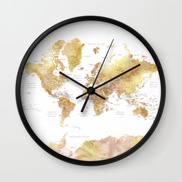 Gold and brown watercolor world map Wall Clock