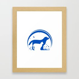 Dog and Cat and nature Silhouette Framed Art Print