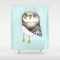 owl Shower Curtains featuring Owl by Ashley Percival by Ashley Percival illustration