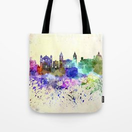 Valletta skyline in watercolor background Tote Bag