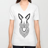rabbit V-neck T-shirts featuring Rabbit by Art & Be