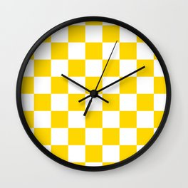 Checkered - White and Gold Yellow Wall Clock