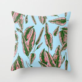 Blue and Pink Banana Leafs Throw Pillow