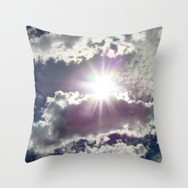 Silver Linings sun through the clouds Throw Pillow
