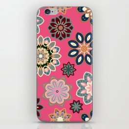 Flower retro pattern in vector. Blue gray flowers on pink background. iPhone Skin