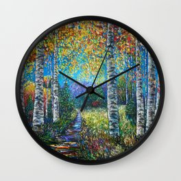Nocturne Blue - Palette Knife by OLena Art  Wall Clock