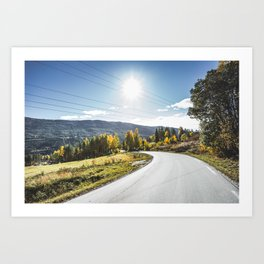 Roads of Norway. || Gol, Norge. || Mountains. || Colourful Autumn. || Madara Travels. Art Print