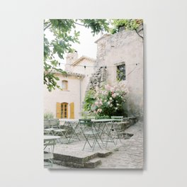 Provence | French restaurant in an idyllic old village with flowers | Travel photography France Metal Print