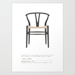 Wishbone Chair - Black Art Print
