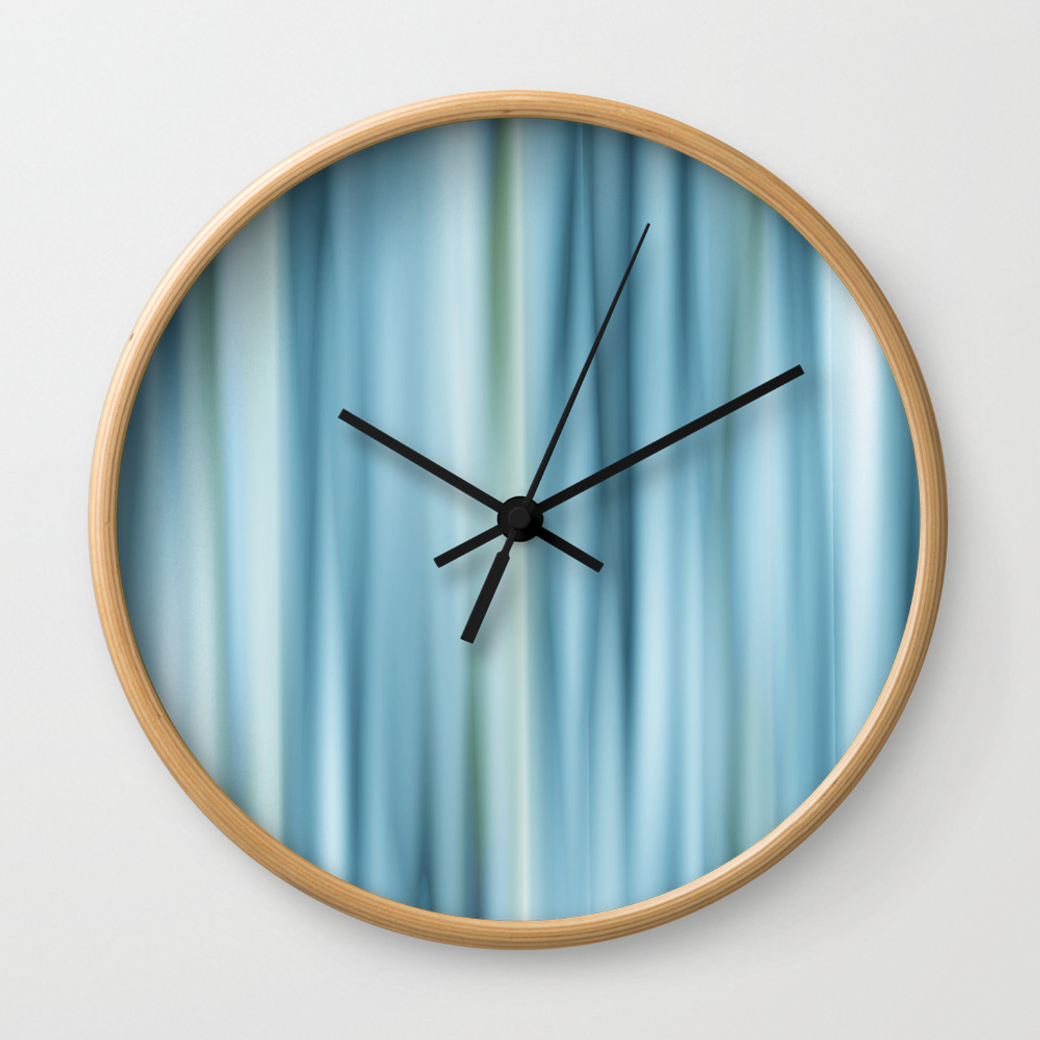 Stripes Light Blue Wall Clock By
