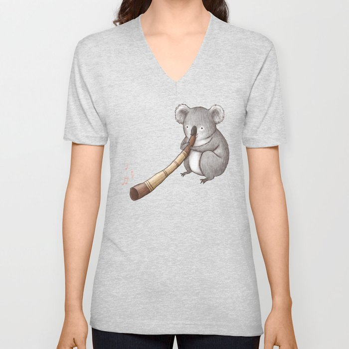 Koala Playing the Didgeridoo Unisex V-Ausschnitt