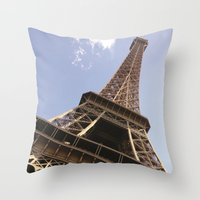 eiffel tower Throw Pillows featuring Eiffel Tower by caroline