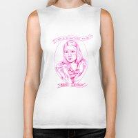 tenenbaum Biker Tanks featuring Margot Tenenbaum Portrait in Pink by Claire Mabbett
