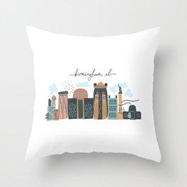 Birmingham City Skyline Multicolored Throw Pillow