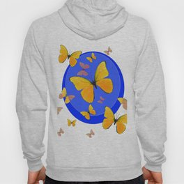 YELLOW BUTTERFLIES SWARM & BLUE RING MODERN ART Hoody