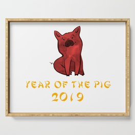 Chinese New Year 2019 Year Of The Pig Watercolor Pig Serving Tray