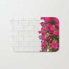 Bougainvilleas and White Brick Wall in Palm Springs, California Bath Mat