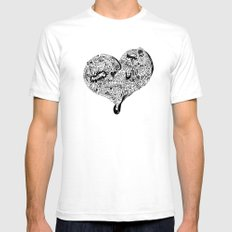 Heartfull en colour SMALL Mens Fitted Tee White