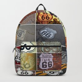 Historic U.S. old Route 66 signs. Backpack